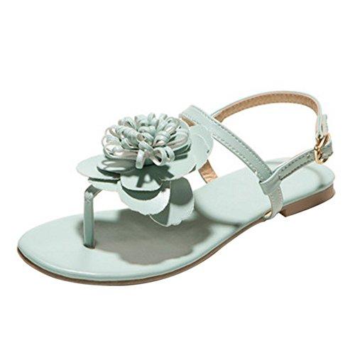 COOLCEPT Damen Mode Knochelriemchen Sandalen Slingback Flach Schuhe Mit Blume Grun