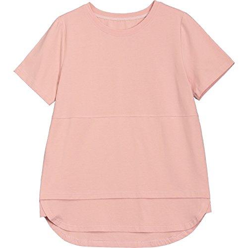 MOMO566225 T-Shirt à Manches Courtes Femmes été T-Shirt à Manches Longues en Vrac T-Shirt à Manches Longues en Coton Solide,Rose,XXL