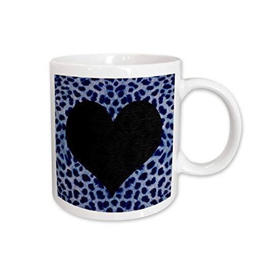 3dRose 20397_1 Punk Rockabilly Blue Cheetah Animal Print Black Heart - Ceramic Mug Becher keramik mehrfarbig - Becher Animal-print Kaffee