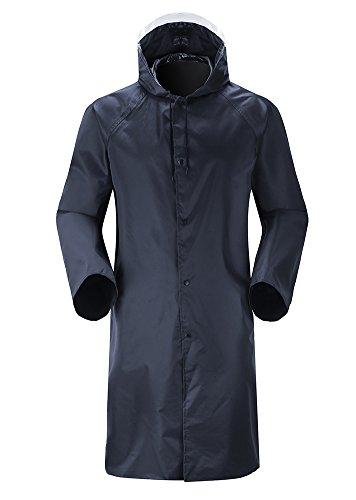 Insun Erwachsenen Regencape mit Kapuze Regenbekleidung Raincoat mit Reflektierendes Band für Damen und Herren Marineblau 2XL