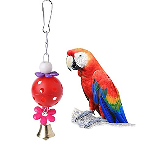 Top-Sell Pet Bites Parrot Bird Climb Chew Toys Bell Swing Cage Hanging Cockatiel Parakeet (Rouge)