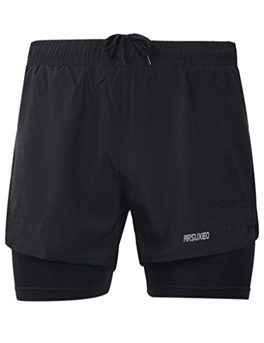 Jimmy Design Herren Running Shorts Training Shorts Schwarz - L