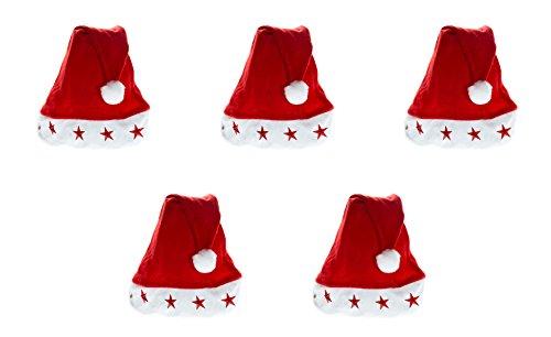 Ciffre Weihnachtsmütze Nikolausmütze Mütze Weihnachten Nikolausmütze Santa Christmas Nikolaus 5 er Set Kinder Mütze mit Licht (Umfang ca. 45cm)