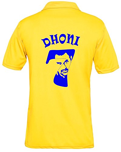 sportscart Polyester Chennai Super Kings T-Shirt Csk Ipl 2018 Dhoni 7 Printed Half Sleeve Jersey for Boys, L (Yellow, 9131765076000p)