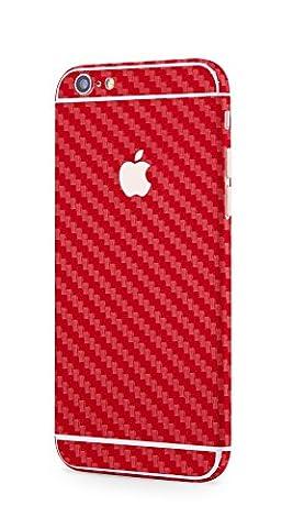 Rundum Schutzfolie Apple iPhone 6s Plus, iPhone 6 Plus Shining Carbon Style Carbon matt Optik Skin Glamour Sticker in rot von PhoneStar