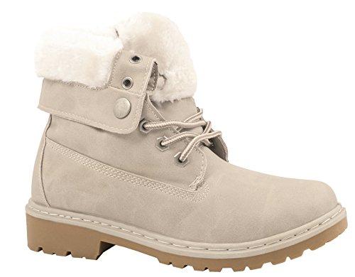 Elara Damen Worker Boots | Bequeme Warm Gefütterte Schnürrer | Outdoor Stiefeletten Beige 38 (Frauen-boot Beige)