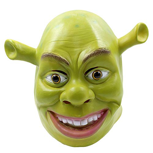 QQWE Shrek Maske Halloween Horror Latex Maske Maskerade Thema Party Film Kostüm Requisiten Kopf Cosplay,Green-OneSize