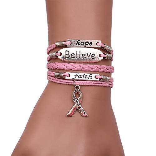 bobo4818 Kriegerprävention Awareness Silver Hope Faith Believe Mehrschicht-Lederseil Handgemachte Pink Ribbon Cancer Awareness Armband -