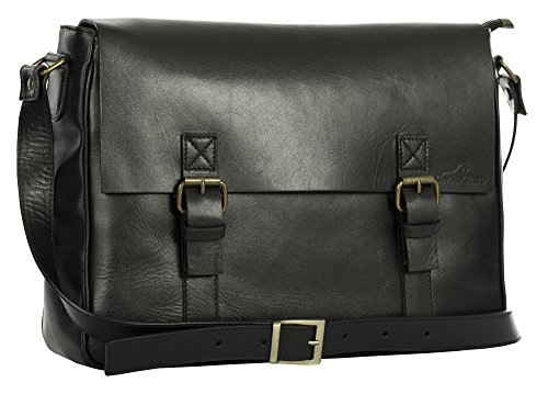 Cavallo Scuro , Borsa Messenger  Unisex �?Adulto DoubleBuckle - Black