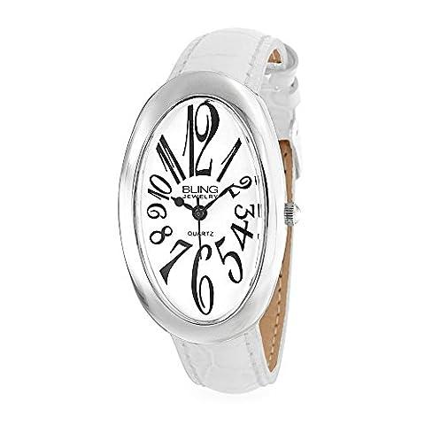 Bling Jewelry Cadran blanc ovale Womens Dos en acier inoxydable en cuir blanc Watch