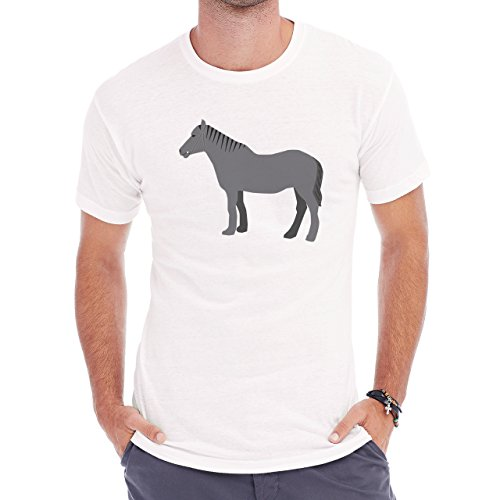 Horse Animal Pony Stud Grey Big Herren T-Shirt Weiß
