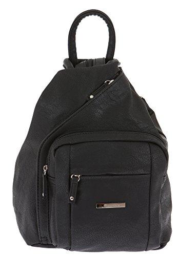 ALESSANDRO Femme Bag Handtasche Rucksack Damentasche + Schlüßelmäppchen (TIRANO Black 6) TIRANO Black 6