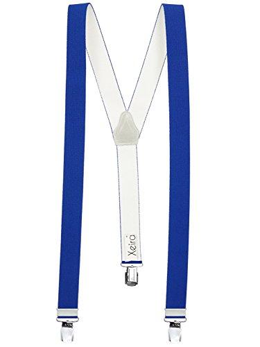 Hochwertige Hosenträger in Trendigen Uni & Neon Farben mit Extra Starken Clips- in XXL Länge Verfügbar - Made in Germany / Schwarz / Rot / Braun / Beige / Blau / Gelb / Grün / Orange (XL - Extra Lang (125), Blau)