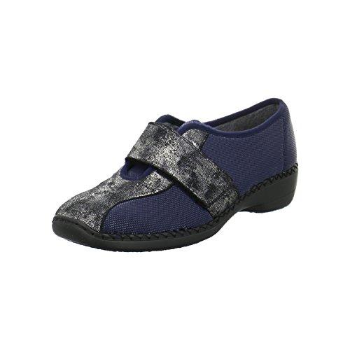 Rieker Damen Klett-Ballerinas 413 Größe 39 Blau (Blau)
