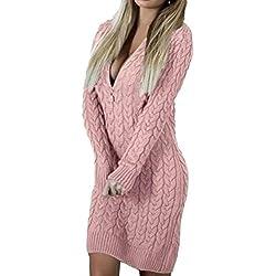 Robe Moulante très Sexy à col en V pour Femmes,Kinlene Femmes Sexy tricotées Fermeture éclair col en V à Manches Longues Robe Pull Moulante Mini Robe