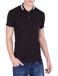 Tiger Grid Men's Solid Cotton Polo Neck T-Shirt-Black