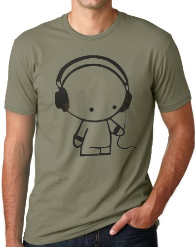 OM3 - HEADPHONE MUSIC BEATS - T-Shirt Indie Wave Turntables Underground Elektro Sound Master DJ EMO, XL, Oliv (Cool Emo T-shirt)