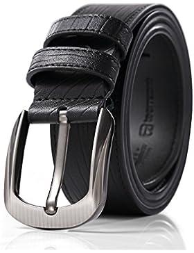 Teemzone Hombres Moda Cinturón de Cuero Split Hebilla del Perno