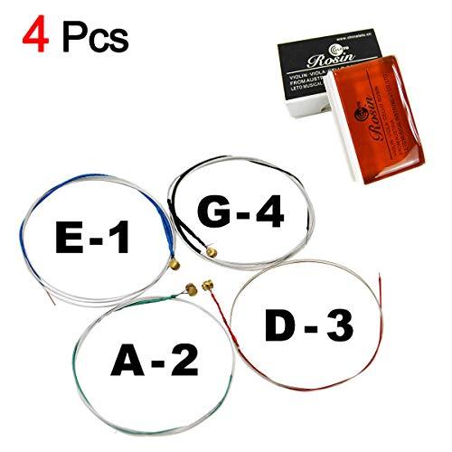 2 Bogenkolophonium für Violine, starke Haftung, weniger Pulver und 1 Satz von 3/4 4/4 1/2 1/4 1/8 Violin-Saiten, rostfrei, langlebige Kombination