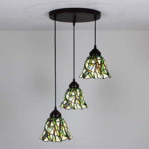 Gold Leaf 8 Licht (Yuany 8-Zoll-Pastoral Dragonfly Green Leaves Korridor Gang Balkon Lampe Pendelleuchte Suspension Kronleuchter-3 Lichter (Farbe: runde Platte))