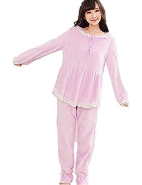 DMMSS Flanella accappatoio lungo donne - a maniche corte collo rotondo casa pigiama tuta , purple , xl