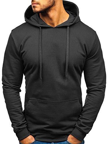 BOLF Herren Kapuzenpullover Hoodie Sweatshirt Basic Sport Style 5361 Schwarz M [1A1]
