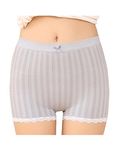 Legou Damen Sicherheitshosen Shorts Boxershorts Unterwäsche kurz Leggings mit Spitzenbesatz Grau
