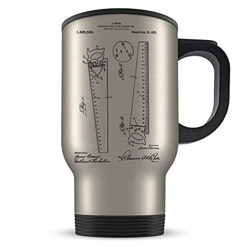 Carpenter Travel Mug for Men and Women Carpentry Coffee Cup for Student Apprenticeship or Profession Best Wood Working Gift Idea Cool Hacksaw Patent Cup