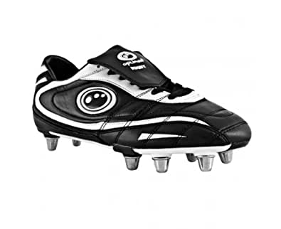OPTIMUM Junior Blaze II Rugby Boots, Black/White, UK6