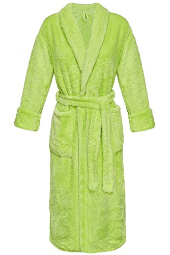 Postero PN104 - Damen Bademantel aus Flausch - Lang Grün