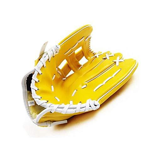Baseball-Handschuhe, Leder gepolsterte Baseball-Handschuhe Teen Adult Catcher Pitcher Baseball-Set, Softball-Handschuhe, gelbe Handschuhe für die linke Hand ( Color : Brown , Size : 12.5 inch ) -