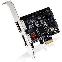 CSL - Tarjeta de interfaz PCI Express eSATA + SATAII + PATA (IDE)   Tarjeta controladora 2 puertos eSATA, 2 puertos SATA II y 1 puerto PATA   incl. controlador RAID (JBOD)