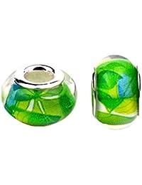 Bling étoiles Vert Feuille en Murano Verre Cristal fascinante facettes perles Spacer Solid Core Charm pour bracelets de type Pandora