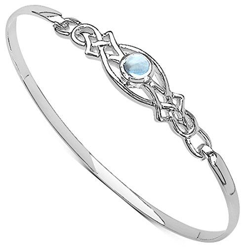 Damen Rennie Mackintosh Stil Sterling Silber 925 Blautopas Set Celtic Clip Armreif. Kommt in einer Qualität Armband-Tasche für das besondere Geschenk, Geschenk der Mutter Tages (Celtic Mütter Ring)