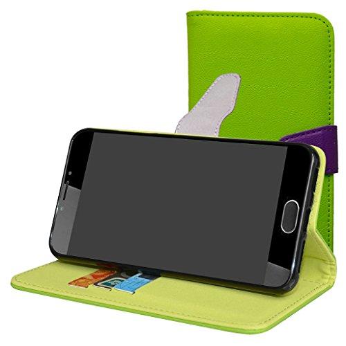 Mama Mouth Liquid Z6 Plus Hülle, Brieftasche Schutzhülle Case Hülle mit Kartenfächer und Standfunktion für Acer Liquid Z6 Plus Android 6.0 Smartphone,Grün