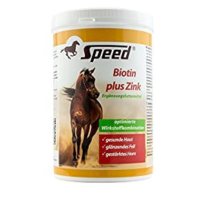 Speed Biotin plus Zink Pferde Zusatzfutter für Hufe, Haut & Fell (750 g), Pferdefutter für Fellwechsel beim Pferd, Mineralfutter & Spurenelemente für Pferde