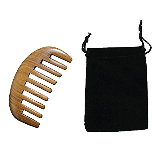 Vococal® Peigne avec Pochette de Rangement,Sandalwood Verte Bois,Environ 10*5*1.2cm