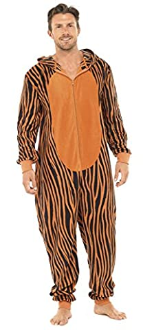 Mens Tiger Thermal Fleece Hooded Onesie Pyjama Loungewear (Striped) M/L