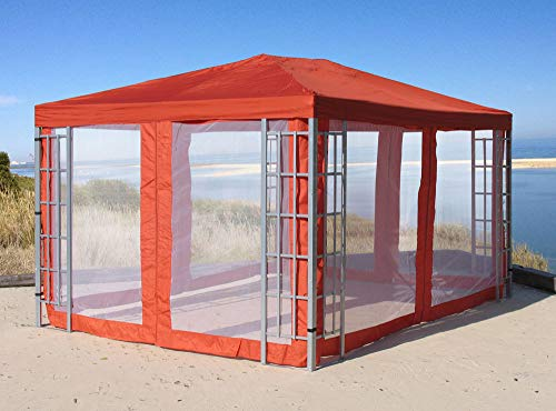 Quick-Star Rank Pavillon Set 3x4m Metall Garten Partyzelt Terra mit 4 Seitenteilen Moskitonetz