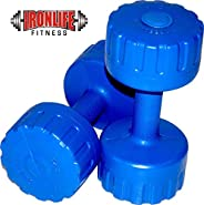 IRONLIFE FITNESS 2 KG X 2 PVC Dumbbells Weights Fitness Home Gym Exercise Barbell (Pack of 2) Light Heavy for Women & Men's D