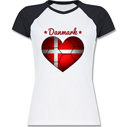 Handball - Handballherz Dänemark - zweifarbiges Baseballshirt / Raglan T-Shirt für Damen Weiß/Navy Blau