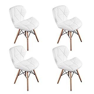 WV LeisureMaster Ensemble de 4 Cecilia Eiffel Millmead inspiré Chaise PU rétro à Manger Chaise Chaise de Bureau Lounge, Papillon Type Dossier Chaise à Manger-Blanc
