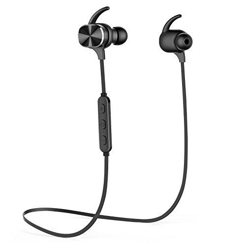 MixcMax Écouteurs Bluetooth 4,1 Magnétique Oreillettes Sport sans Fil Intra-Auriculaires Stéréo avec Microphone Earphone pour Smartphone Tablette iPhone iPad Samsung - Noir