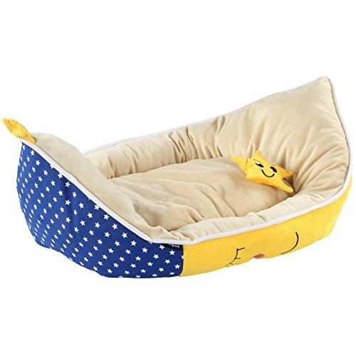 hundeinfo24.de Haustierbett in Mondform für Hunde und Katzen Hundebett Tierbett Katzenbett Haustierkissen Haustier Schlafplatz