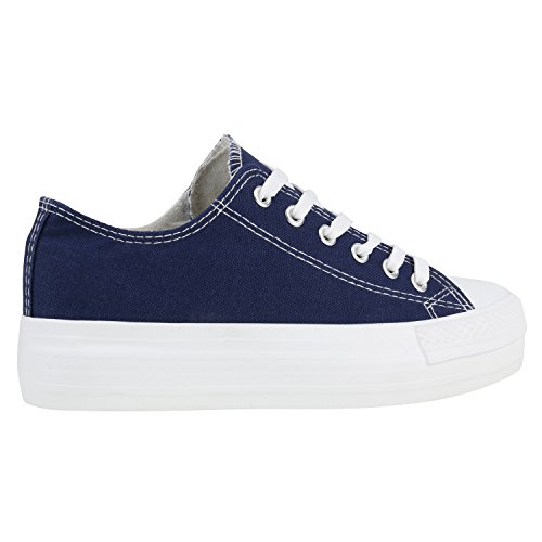 Damen Plateau Sneakers Sportschuhe Spitze Schnürer 90's Style Dunkelblau Weiß