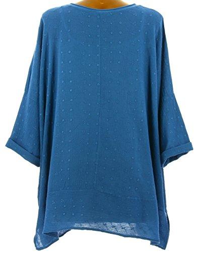 Charleselie94® - Tunique bohème ethnique rebrodée grande taille bleu dur PAULETTE BLEU Bleu