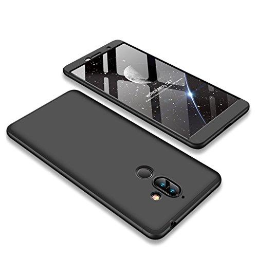 Nokia 7 Plus Hülle, Ultra Dünn 3 in 1 Abnehmbare Anti-Kratzer Hart PC Handyhülle, 360° Full Body Stoßfest Schutzhülle für Nokia 7 Plus (Schwarz)