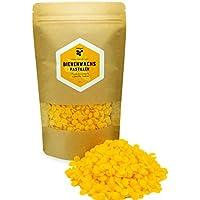 Cera de abejas natural y pura - 200 g de pastillas de cera de abejas amarilla - Perfecto para hacer uno mismo cosmética natural y velas