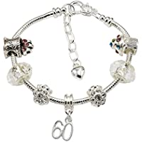 Women's Silver Plated Birthday Charm Bracelet with Gift Box - Ages Available 18th, 21st, 25th, 30th, 35th, 40th, 45th, 50th, 55th, 60th, 70th & 80th