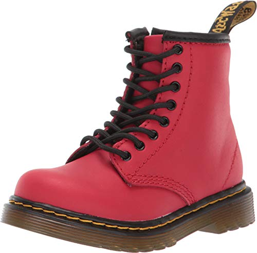 Dr. Martens Infants 1460 T Satchel RED Side Zip Soft Romario Leather Boots-UK 8 (EU 26) (Satchel Zip Side)